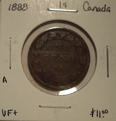 A Canada Victoria 1888 Large Cent - VF+
