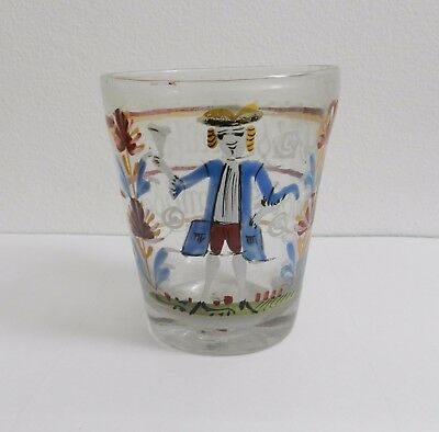 Antique German 18th Century Enamelled Glass Beaker Tumbler