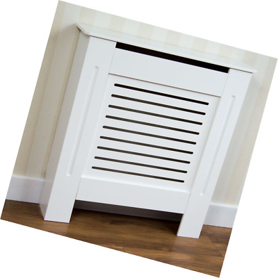 Home Discount Milton Radiator Cover White Modern Painted MDF Cabinet, Small