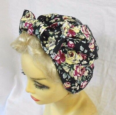 VINTAGE INSPIRED 1940's 1950's STYLE BLACK ROSES TURBAN HAT