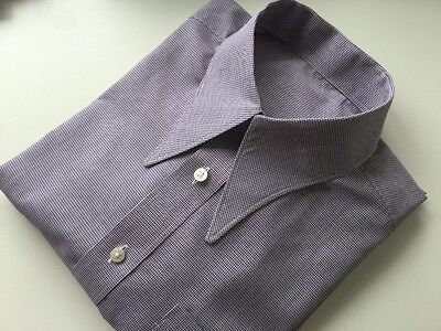 "REDUCED Men's check 1940's vintage style WWII 15"" spearpoint collar shirt"