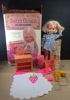 Vintage 1972 Hasbro Sweet Cookie Doll in box made in the USA Working Mixer
