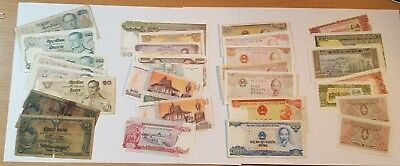 Small Collection of Asian Cambodia Laos Siam Thailand Vietnam Banknotes