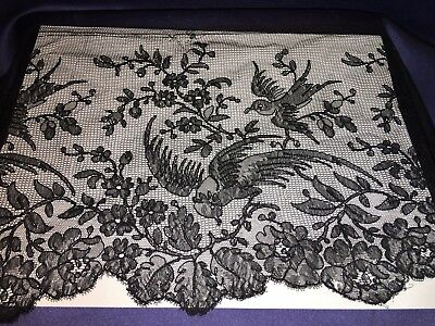 "Nice Antique Alencon or Chantilly Wide Black Lace Trim With Birds 9"" by 87"""