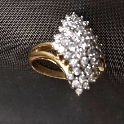 Fine   Diamond Cluster And Gold Ring