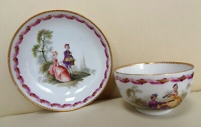18th Century Meissen Marcolini Cup & Saucer with Romantic Scene