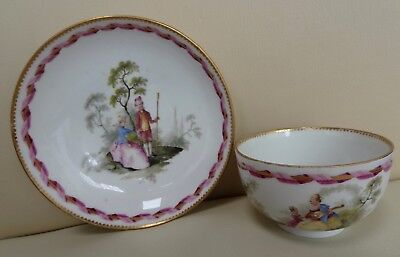 18th Century Meissen Marcolini Cup & Saucer with Romantic Scene #2