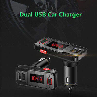 Dual USB Output Bluetooth FM Transmitter Wireless Hands-free Audio MP3 Players
