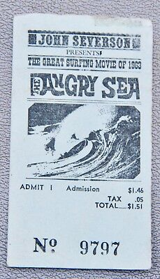 Vintage Rare The Angry Sea 1963 Surfing Movie Ticket John Severson