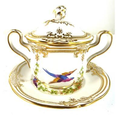 Spode Porcelain Chelsea Birds Covered Chocolate Cup & Saucer