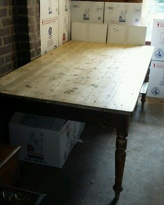 Antique Large Victorian Pine Farmhouse  Dining Table  seats 8