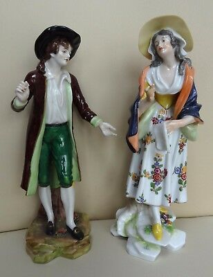 "Two High Quality 10"" Dresden Porcelain Figures - Ludwigsburg and Crown Marks"