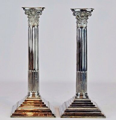Pair of Large English Corinthian Column Silver Plated Candle Sticks, Hallmarked