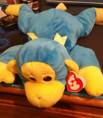 1998-TY-PILLOW-PAL-BLUE and-YELLOW-SWINGER the MONKEY