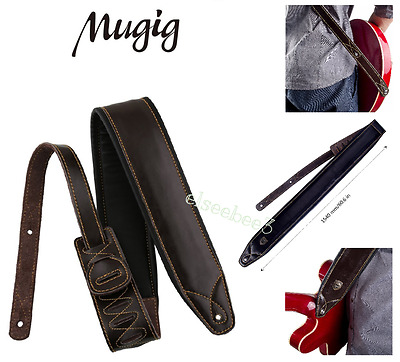 "Mugig Guitar Strap 3"" Wide Adjustable Length Real Leather for Bass & Guitar"