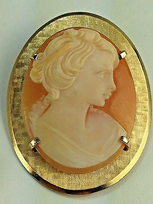 Antique Krementz  1920's Young Girl  Cameo Brooch Pin