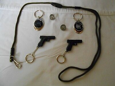 7-Pc. Set of Glock Keychains ,Hat Pins, & Rare Glock Military Lanyard