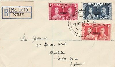 Niue FDC 1937 New Zealand Coronation Issue Overprint stamps