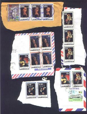 JAMAICA.  Selection of BOB MARLEY stamps on piece to $100.