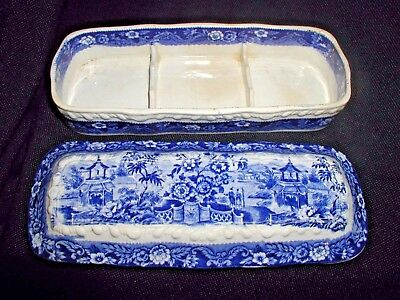 Antique Blue and White Chinese Porcelain Transfer Ware Razor Box