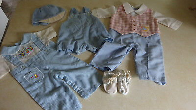 Lot of Vintage Baby Boy Clothes Blue White Checkered Mid Century 0-6 Months