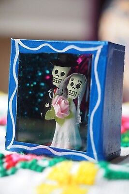 Colourful Mexican BOX SET day of the dead nicho handmade miniature altar