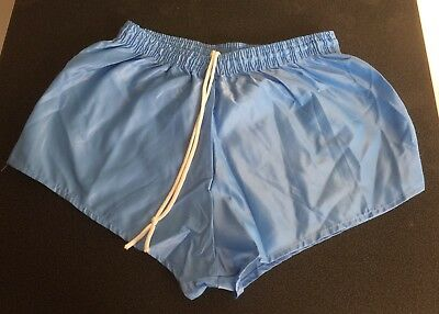 Vintage Shiny Nylon Shorts, Pale Blue, size 32""