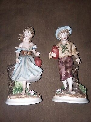 Andrea By Sadek, Japan Vtg Pair Bisque Boy & Girl Water Bearers Figurines #7979