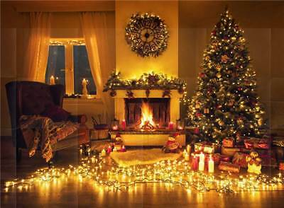 Digital Backgrounds Christmas Vinyl Fireplace Photography Backdrops Chair 7x5FT