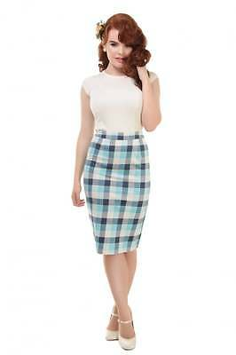 Collectif Polly skirt - Vtg 50s style - rockabilly - blue check