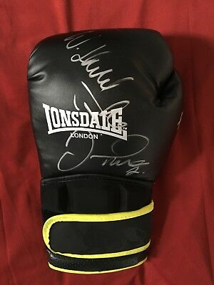 Legit Hand Signed in person, Joshua, Floyd Mayweather, Klitschko Boxing glove