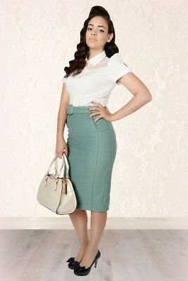 Collectif Caroline skirt in teal - Vtg 50s style - thick lined wool pencil skirt