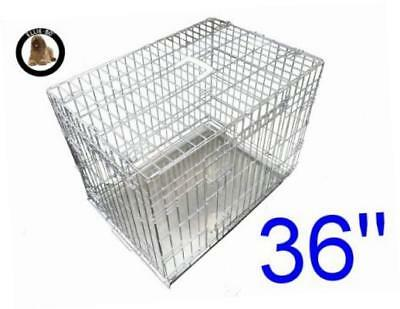 """Ellie-Bo Dog Puppy Cage Folding 2 Door Non-Chew Metal Tray Large 36"""" Silver"""