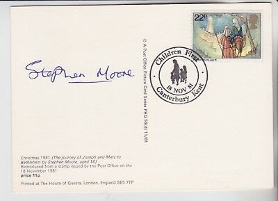 Gb Stamps 1981 Christmas Phq First Day Signed By Artist Stephen Moore Age 16