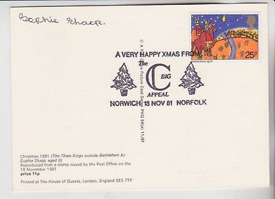 Gb Stamps 1981 Christmas Phq First Day Signed By Artist Sophie Sharp Age 8