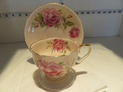 Aynsley Pink With Pink Roses Cup And  Saucer Very Pretty
