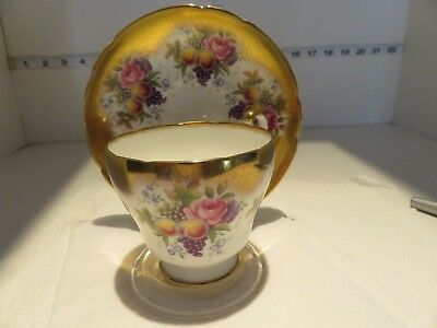 Paragon Fruit And Roses Cup And  Saucer Very Pretty With Bleeding Gold