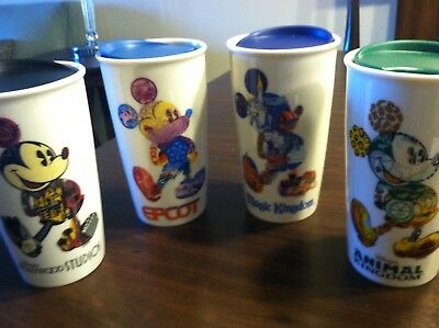 New Disney Set of 4 Magic/ Animal Kingdom, EPCOT  Hollywood Starbucks Tumblers