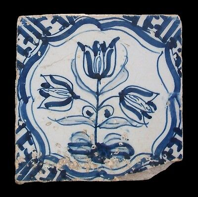 Antique Dutch Delft Ceramic Tile - Hand Painted Tulips - Holland - 17th Century