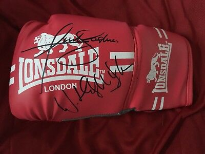 Hand Signed in person Anthony Joshua &  Klitschko Boxing glove, Champs