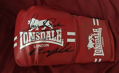Hand Signed in person Anthony Joshua & Kubrat Pulev boxing Glove.🥊