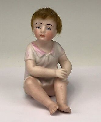 Antique German Bisque Piano Baby Pensive Young Girl Figure With Human Hair Wig