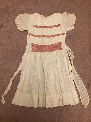 1950s Childs Vintage Dress 5-6 Years Smocked Bodice Skirt Ties