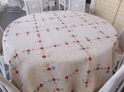 "vintage antique HANDMADE QUILT APPROX 80""X140"""