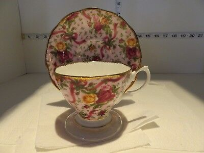 Pretty Royal Albert Country Roses Pink Chintz Cup Saucer  With Gold Trim