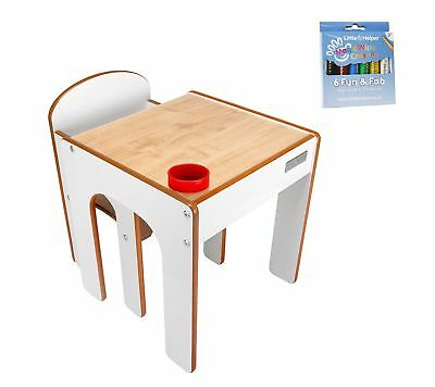 Little Helper FunStation Toddler Table and Chair Set (White) with 1 pack of M...