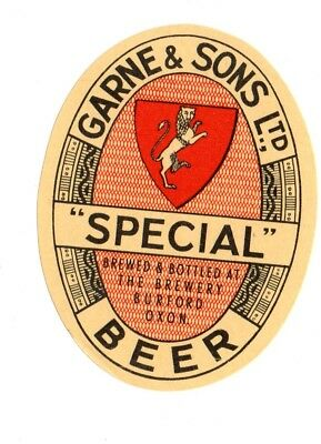 1900s GARNE & SONS BREWERY, BURFORD, OXON, ENGLAND SPECIAL BEER LABEL