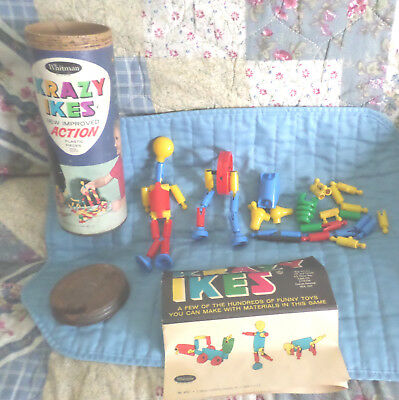 Vintage 1950's Krazy Ikes Plastic Building Pieces in Original Box by Whitman