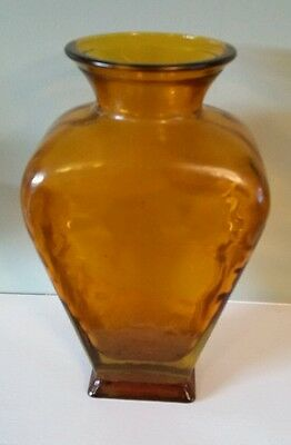 Vintage Amber Brown  Glass  Vase - Heavy Thick Glass