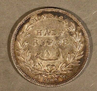 1890 H Mombasa 1/2 Rupee, Nice with Colorful Toning     ** FREE US SHIPPING **